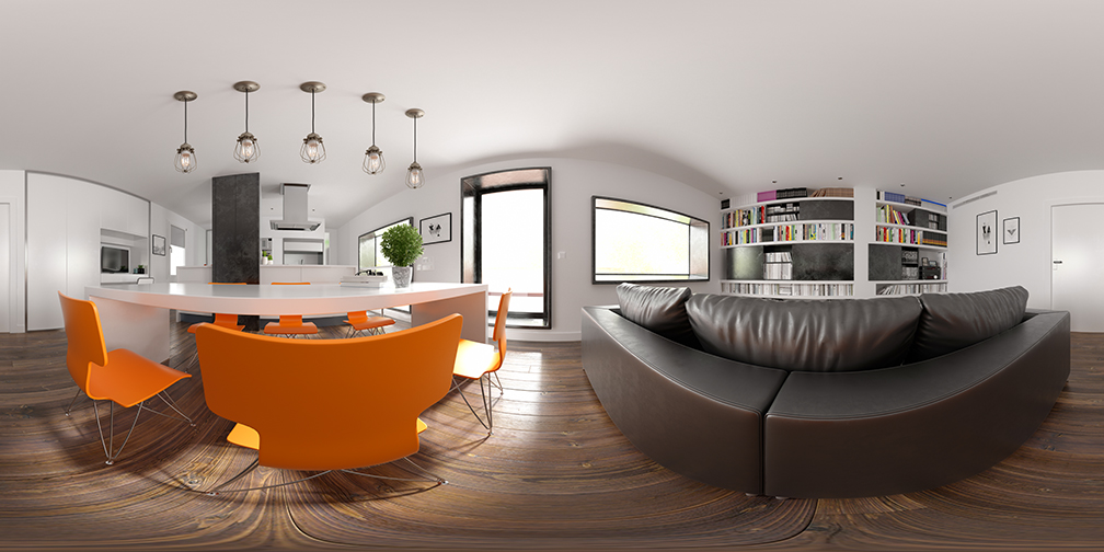360 panorama of a home interior.