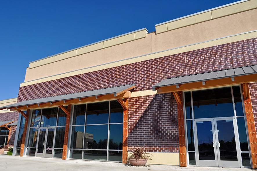 New Shopping Center made of Brick Facade