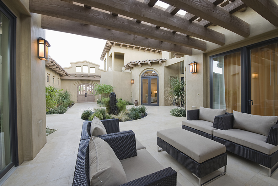 Southwestern desert style patio of a luxury home.